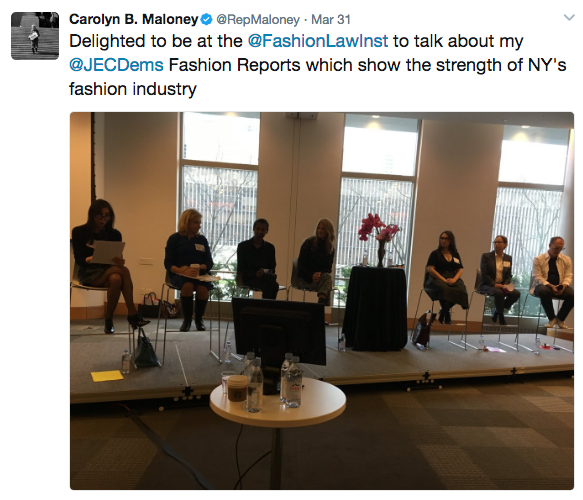 Congresswoman Carolyn Maloney's tweet featuring the entrepreneurship panel at the Fashion Law Institute symposium